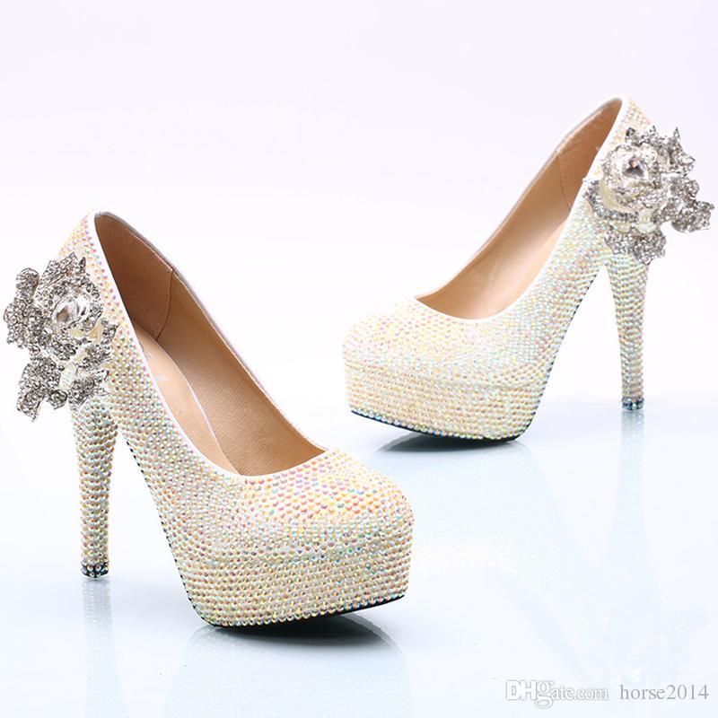Branco AB Sapatos De Casamento De Cristal Espumante Strass Nupcial Vestido Sapatos Plus Size Plataforma Sapatos de Salto Alto Cinderella Prom Bombas