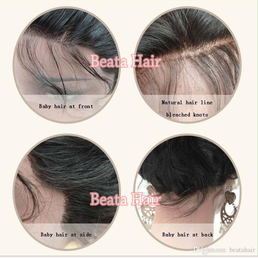 Bythair volle Spitze-Menschenhaar-Perücken für schwarze Frauen-tiefe Wellen-Spitze-Front-Perücke brasilianische Jungfrau-Haar-Perücken mit dem Baby-Haar gebleichten Knoten