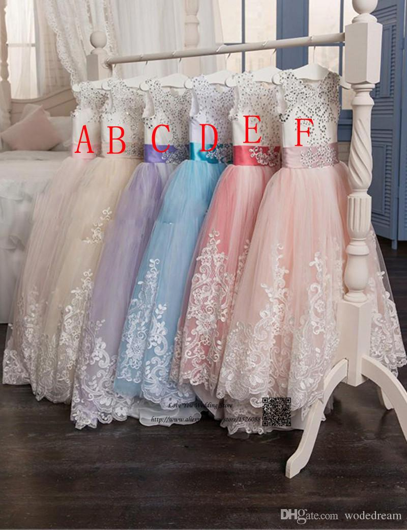 2020 NEW Girls Ball Gown Lace Pageant Dresses for Girls Glitz Holy Communion Dresses Bow Graduation Gowns Children