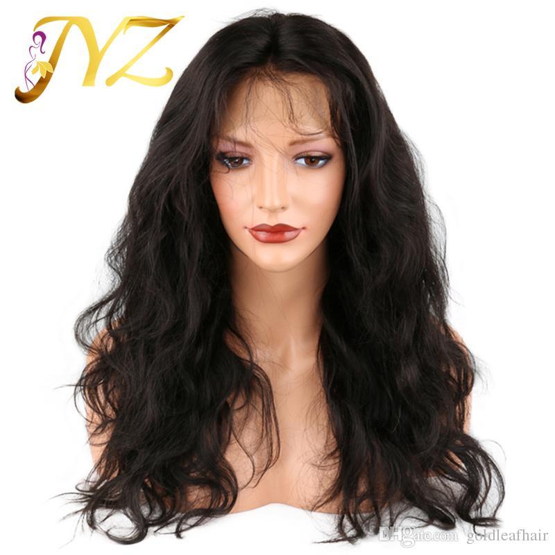 Perruques Full Lace Ondulés Top Qualité Brésilienne Cheveux Prix de Gros Moyenne Brun Perruque Full Lace Pré Plumée Avant de Lacet Perruques Avec Des Cheveux de Bébé