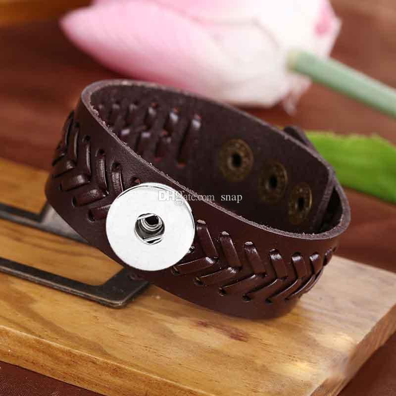 Braccialetto di cuoio genuino del braccialetto genuino di fascino del braccialetto di fascino dello zenzero 18mm di Goffratura all'ingrosso di fashiong del braccialetto Noosa le donne