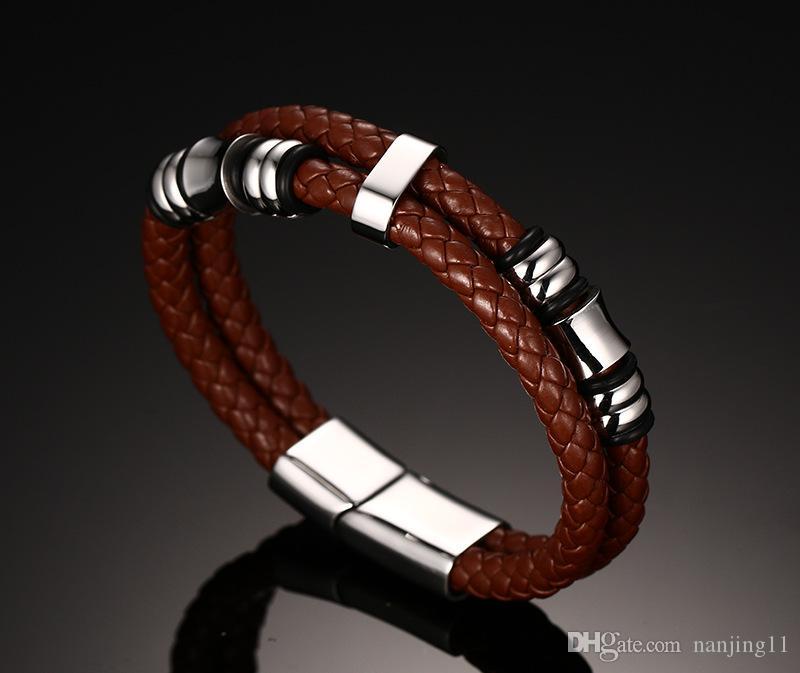 Gli uomini in pelle gioielli vintage braccialetto dell'involucro nastro a due corda intrecciata Bracciale in acciaio inox Brown con 8