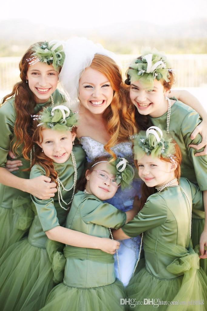 2017 Lüks Çiçek Kız Elbise Lolita Pageant Parti Doğum Günü Balo Düğün Aşınma Elbise Jewel Sheer Uzun Kollu A-Line nane yeşil Örgün Önlük