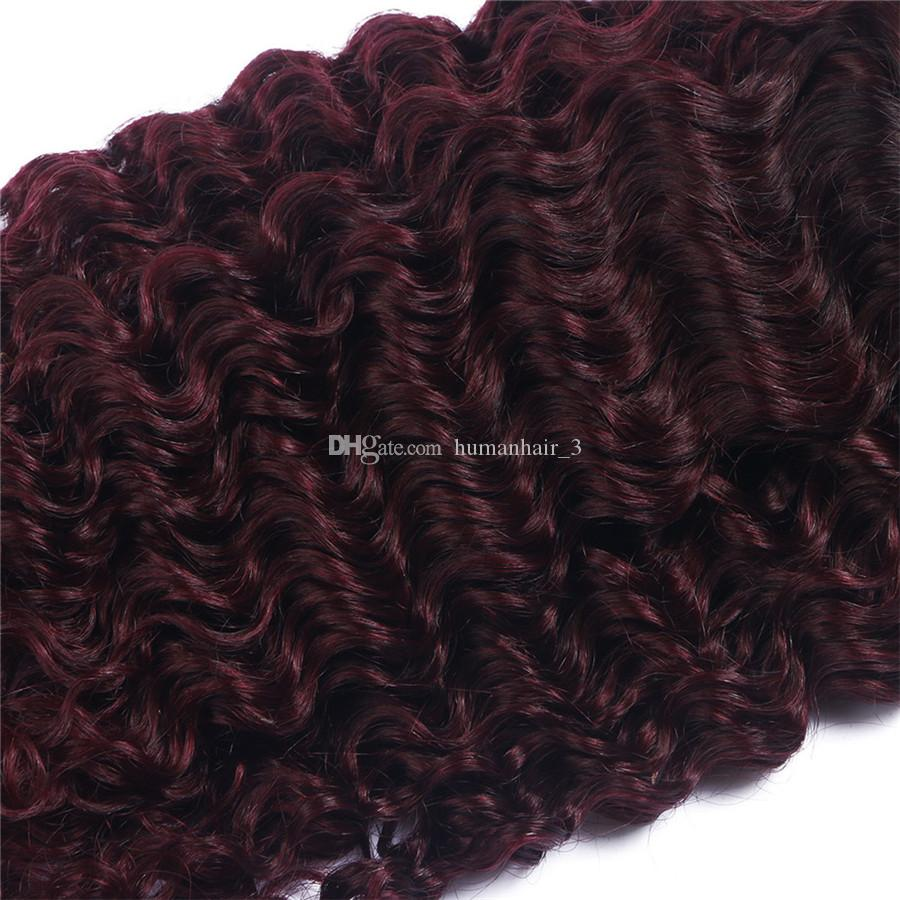 Burgundy Ombre Brazilian Human Hair Wefts With Closure Two Tone #1B 99j Wine Red Deep Curly Human Hair 3Bundles With 4x4 Lace Closure