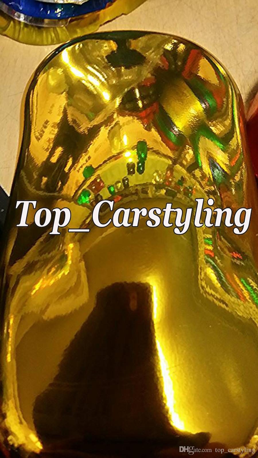 La mejor calidad estira la película del abrigo del vinilo del espejo del cromo del oro para el estilo del coche burbuja del aire Tamaño libre: 1.52 * 20M / Roll 5ft x 65ft