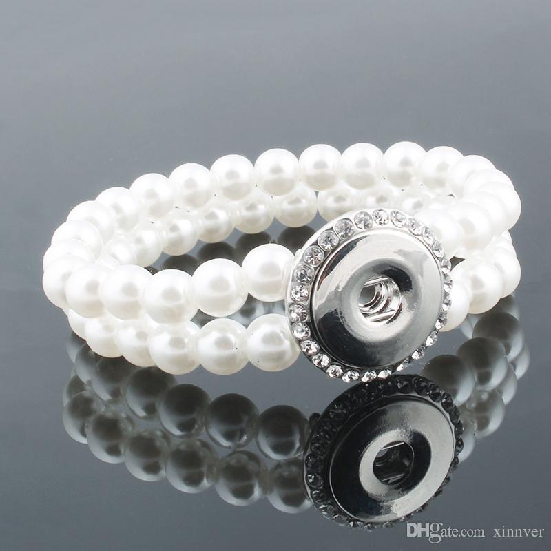 Unisex Bohemian 18mm metal snap button pearl crystal bracelet carter love bangle Wrist watches for women ZE093