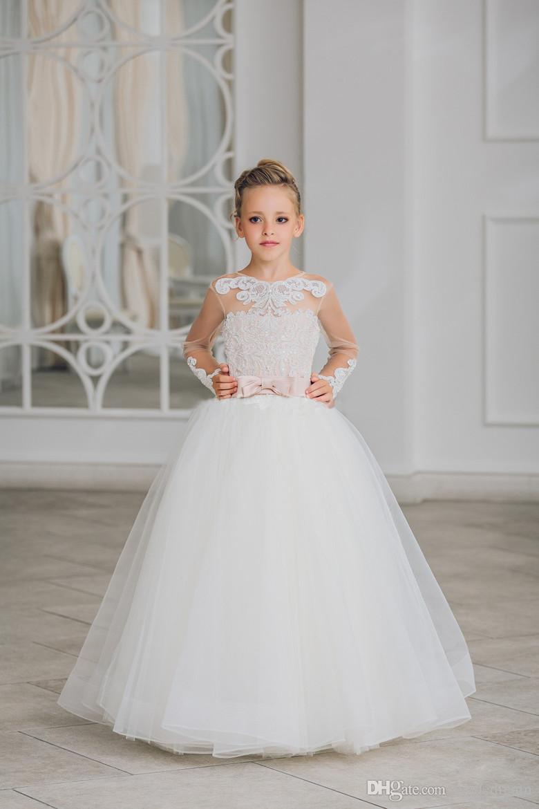 729a5cdf60af New Flower Girl Dresses Long Sleeves O Neck Back Sheer Button Tulle ...