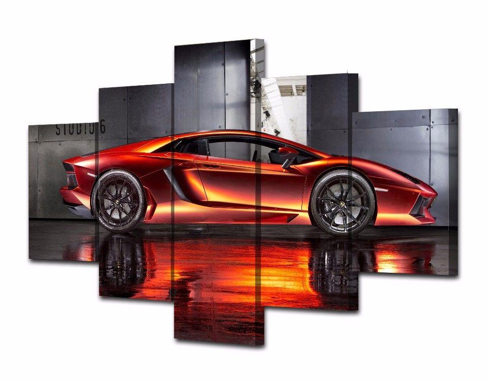 5 Teile / satz Gerahmte HD Gedruckt Berühmte Rote Sportwagen Bilder Bild Wandkunst Leinwanddruck Decor Poster Leinwand Ölgemälde
