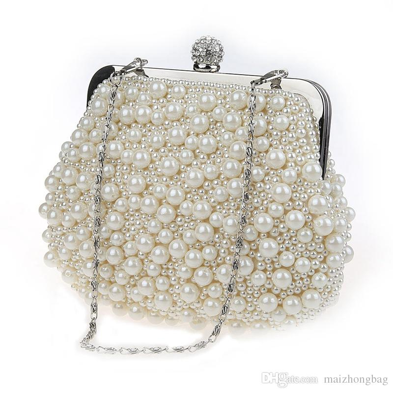 Pearl beads hand bags cheongsam bales dinner evening bags 2017 Fashion brand desginer evening bags