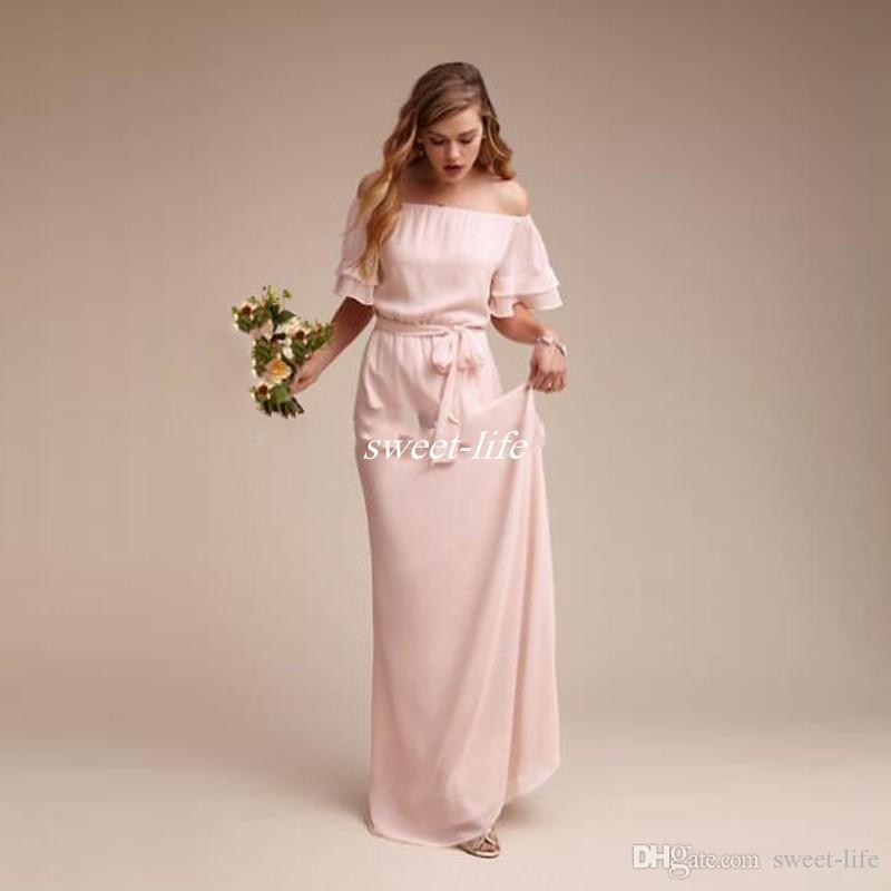 Vestidos de dama de honor por encargo de manga corta Sash Chiffon 2020 Tallas grandes Vestido formal de mujer Vestidos de dama de honor de boda en el campo de la playa