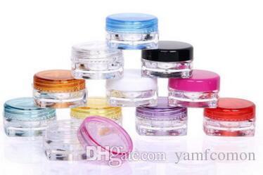 2880 adet / grup 3G Kare Krem Kavanoz Şeffaf Plastik Makyaj Alt-şişeleme, Boş Kozmetik Konteyner, Küçük Örnek Maske Teneke Kutu