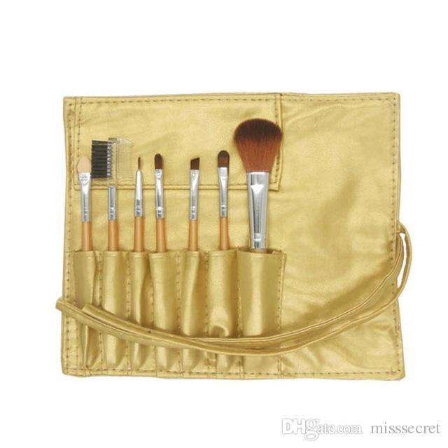 Mini Portable Makeup Brushes Sets Cosmetic Brush Foundation Eyeshadow Eyeliner Eye Lip Make up Brush Kits With PU Leather Bag DHL Free