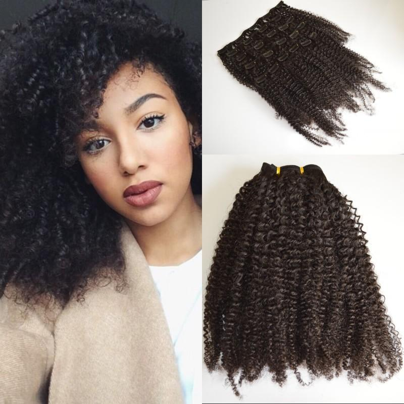 Top Quality Brazilian Afro Kinky Curly Clip In Human Hair Extensions