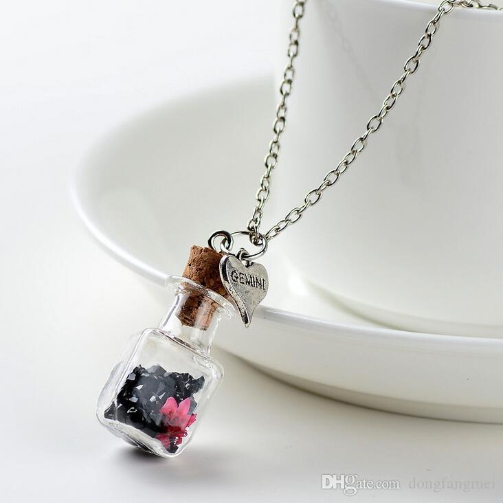 Хороший A ++ DIY сухой цветок дрейф бутылки ожерелье квадратный стеклянный бутылка хрустальные кулонные орнаменты WFN287 с цепью смешать Заказать 20 штук