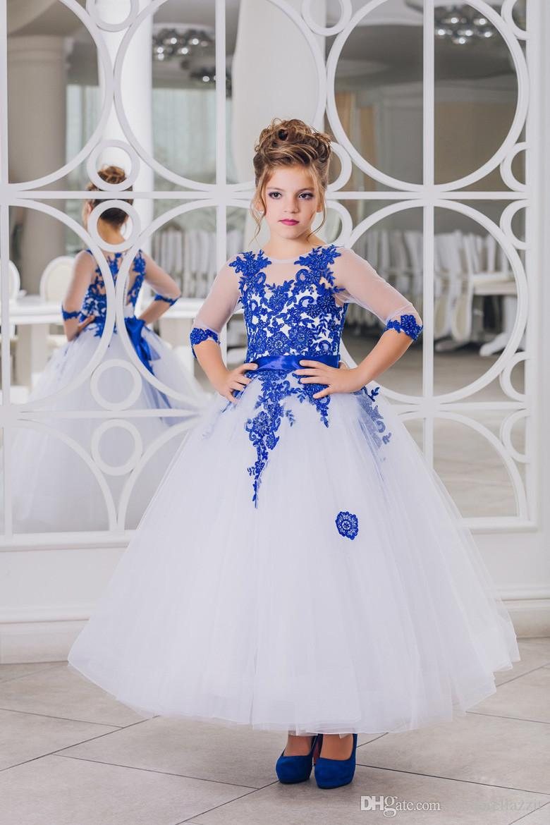99f5788b8ea1 New Hot Flower Girl Dresses Royal Blue Bow Sashes O Neck Three ...