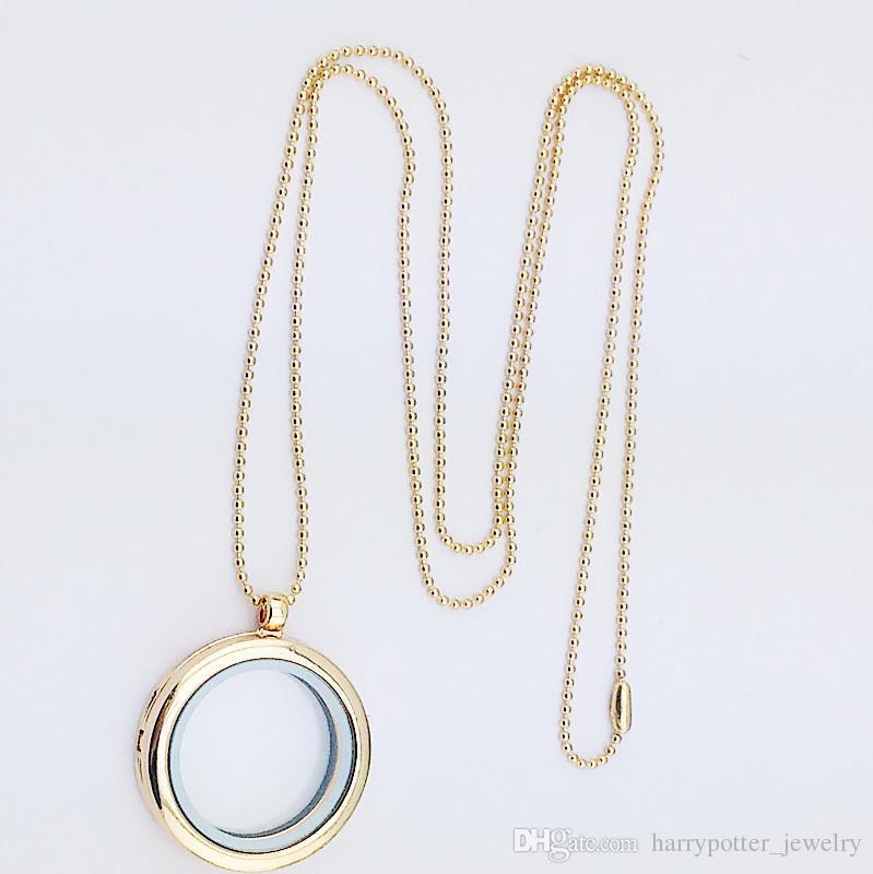 4 Farben Schwimm Medaillon Anhänger Halskette frauen Magnetic Living Memory Glas Schwimm Charme Medaillon Mit perlen Ketten DIY halsketten 160793