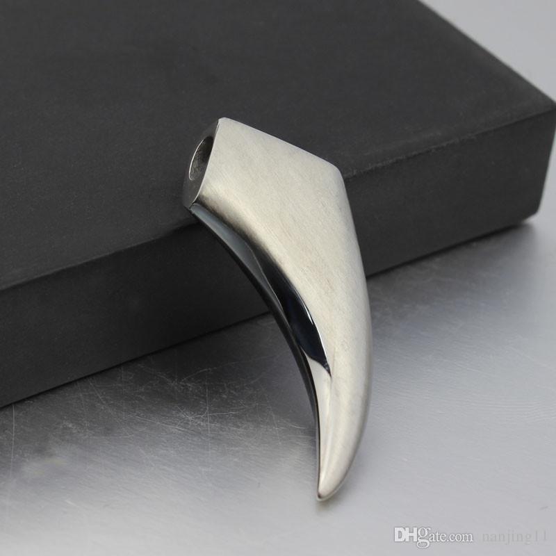 Kurt Diş Charms Kolye Için Adam Için Serin Kolye Kolye Erkek Paslanmaz Çelik Takı PN-122