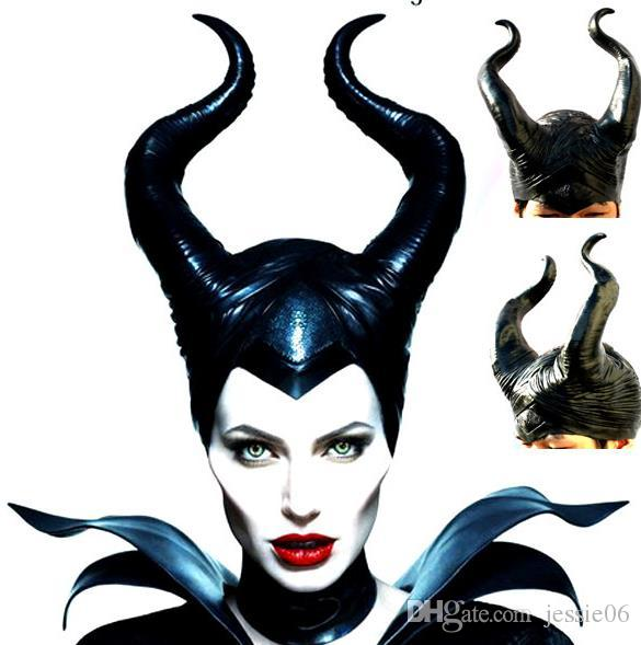 Halloween Evil Witch Maleficent Gothic Horn Cosplay Fancy Dress Hats Mask Costume COS Black Soft PVC Headdress Cap helmet Party Favors