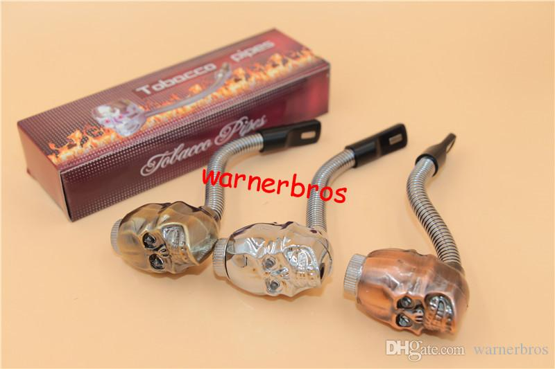Skull Head Smoking Pipes lid light curving herb copper bronze Tobacco Pipe Hot Sale Portable Fashion cigarette holder metal pipes Wholesale