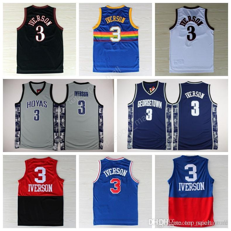 buy online f8297 961bb greece georgetown hoyas 3 allen iverson black college ...