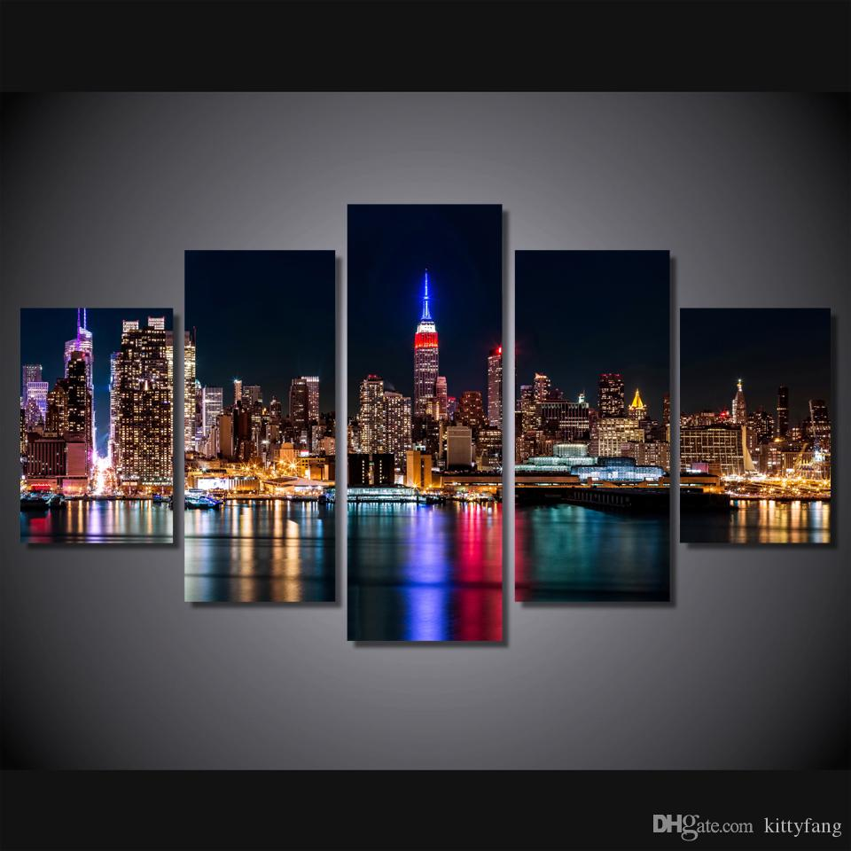 Framed HD Printed Brooklyn Manhattan New York Wall Art Picture Canvas Print Decor Poster Modern Canvas Oil Painting