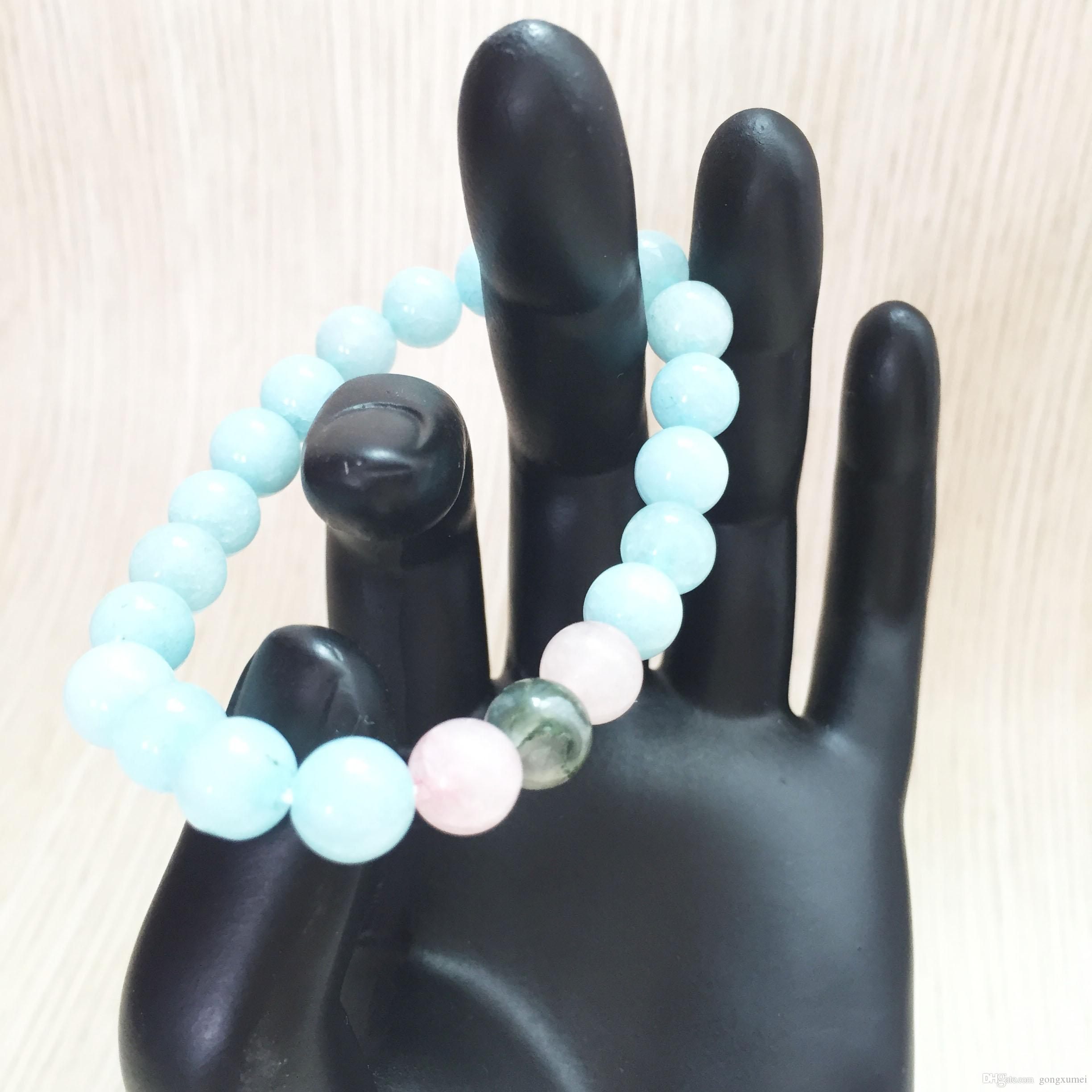 Nature Stone 8MM Rose Quartz Bracelet Bracelet For Women Bule Stone Bracelets Yoga Prayer Mala Beads Wrist bracelets