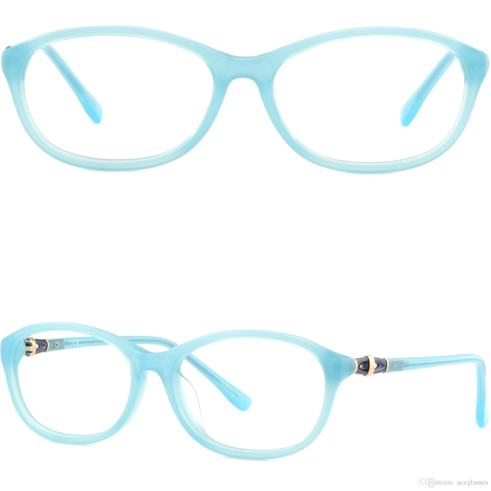 Blue Womens Frames Thin Light Acetate Prescription Glasses Oval ...