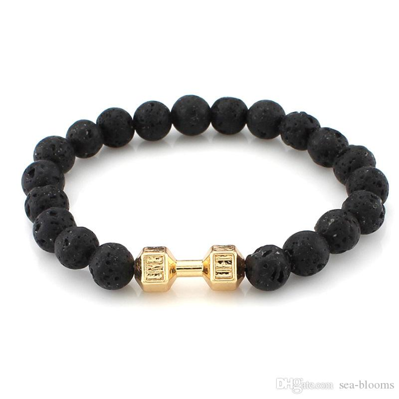 Hot Sale 9 Styles Energy Lave Stone Powerful GYM Barbell Jewelry Fitness Fashion Dumbbell Bracelet for Men Party Gift B337S