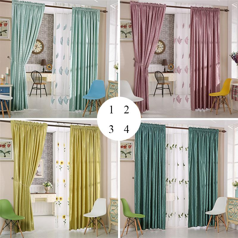 2018 Sheer Curtain Blackout Drapes Jacquard Weave Embroidery Pattern Polyester Window Curtains Multi Colors 42w 50w 72w 1 Panel From