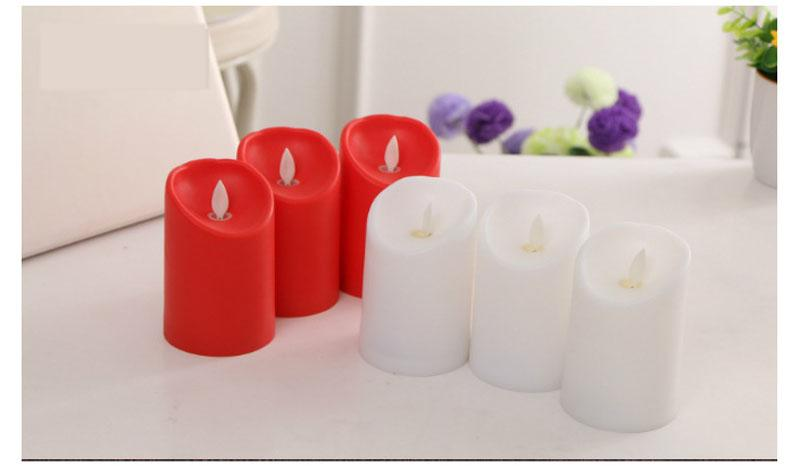 """Colorful Wedding Candle 3"""" * 4.5"""" Ivory Wax Flameless Moving Wick LED Candle For Wedding Bars Party Home Decoration"""
