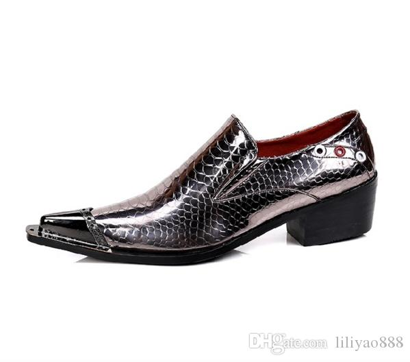Luxury Design Hot New Iron Head Shoes Men Fashion Pointed Toe Dress Low heels Shoes Slip On Men Brand Shallow Leather Shoes