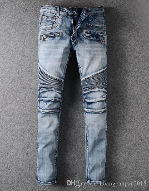 65c0de7a5ba 2019 2017 Light Blue NWT BP Men S Stylish Fashion Stretch Distressed Slim  Acid Washed Biker Jeans Size 28 42 From Huangpanpan2015