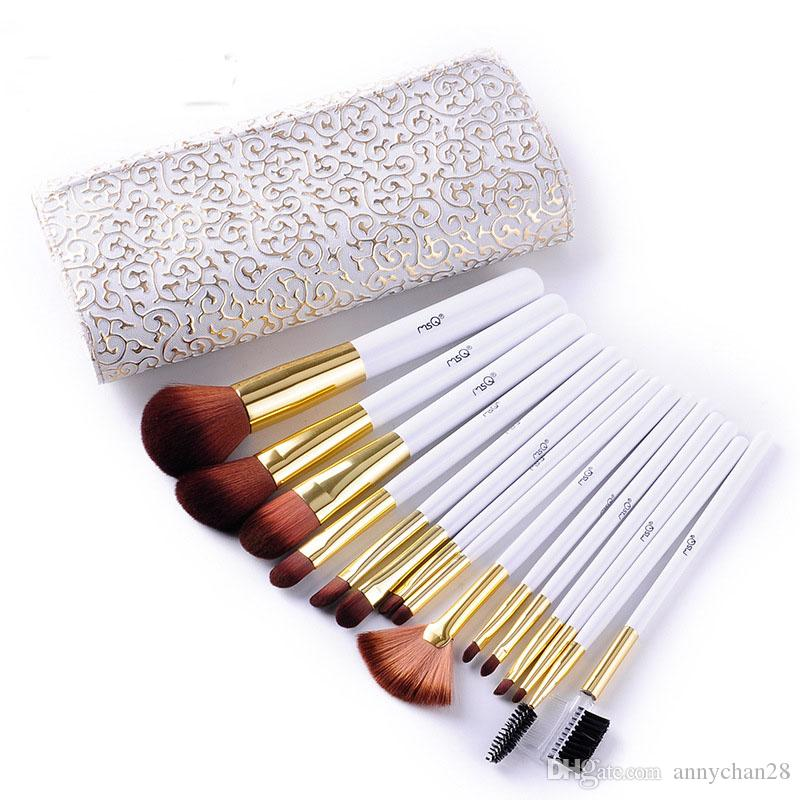 Makeup Brush Set Professional MSQ With PU Bag Brand New Cosmetics White Wooden Handle Wholesale Elaborate Make Up Brush Tools DHL Free