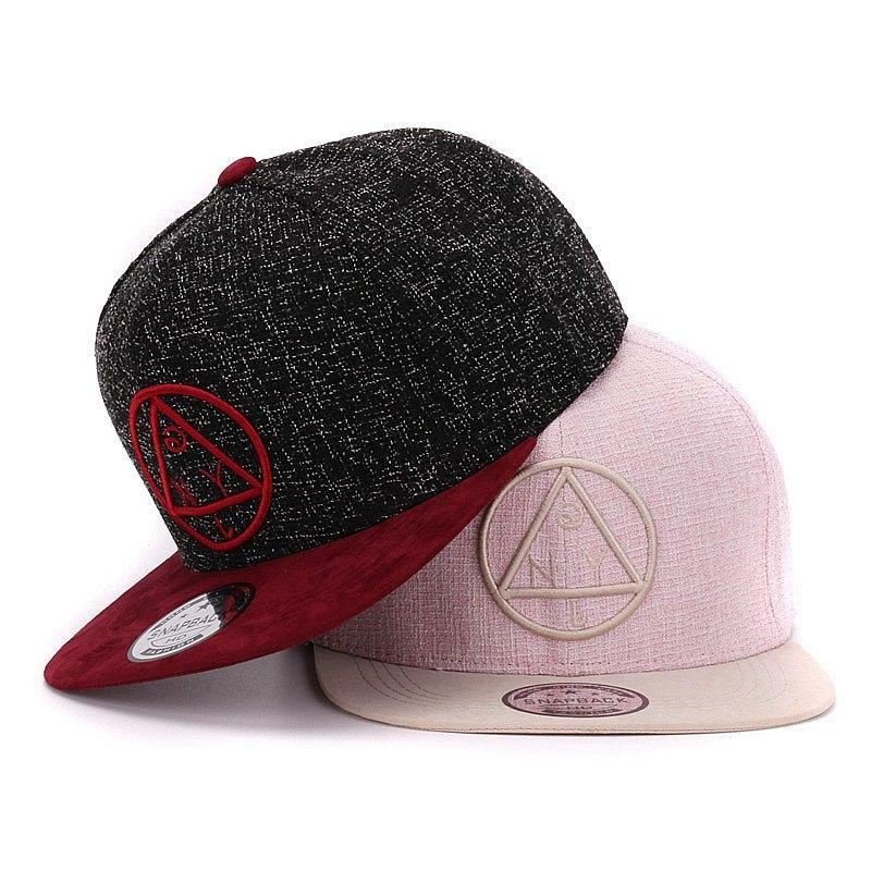 9ea2c2de755 Quality Snapback Cap NY Round Triangle Embroidery Brand Flat Brim Baseball  Cap Youth Hip Hop Cap And Hat For Boys And Girls Custom Baseball Hats Army  Hats ...