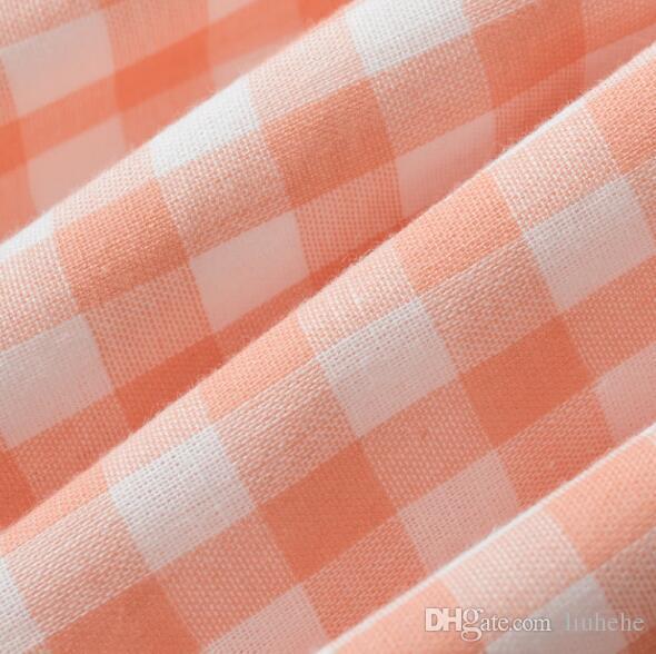 Hilo de doble capa de celosía pequeña Pijama cuello alto vestido de manga larga de algodón femenino de verano chaqueta de punto primavera y verano