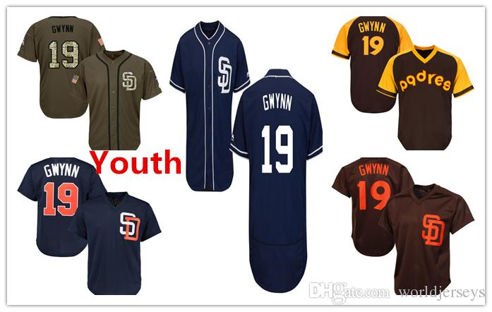 ffe638245 2018 Youth Kids Child Padres 19 Tony Gwynn Baseball Jersey Navy Blue Brown  White Gray Grey Gold Green Salute Players Weekend All Star Team Logo From  ...