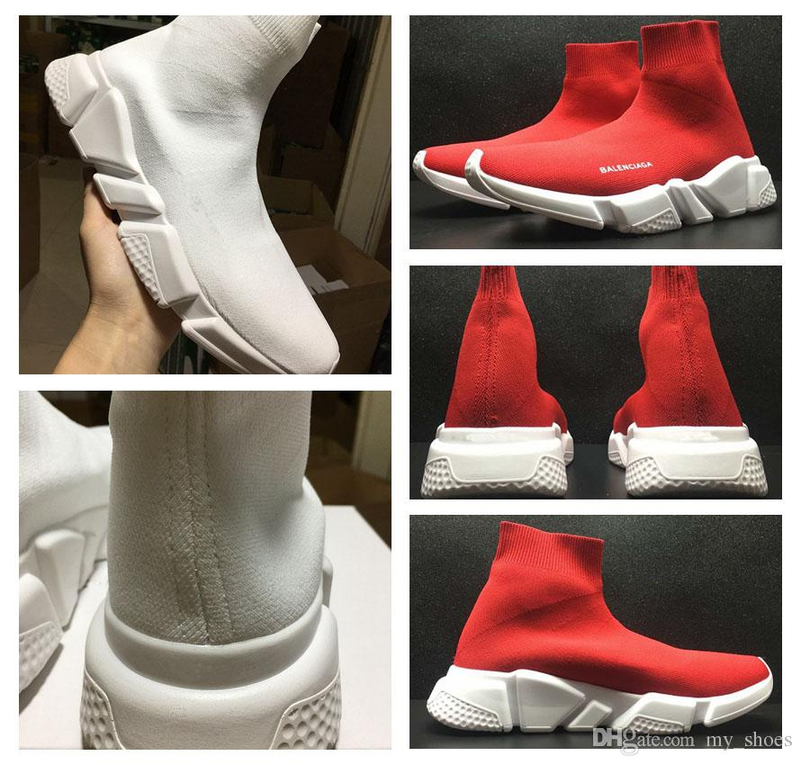 a60b3adb499 2018 2017 Speed Trainer Red White Knit High Socks Sports Shoes New Zoom  Mercurial XI Sneakers Cheap Discount Training Shoes From My shoes