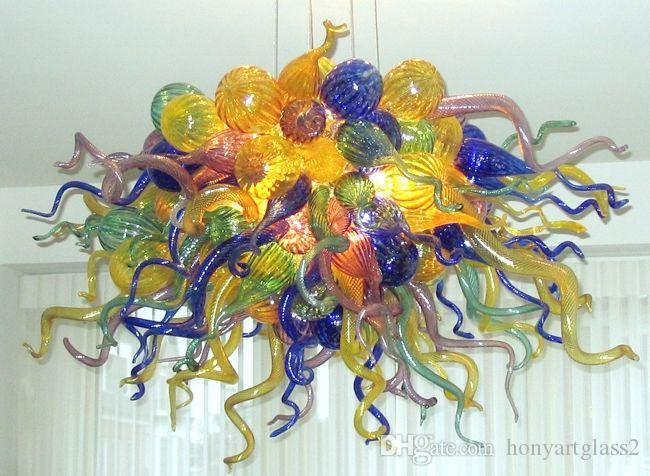 100% Mouth Blown Borosilicate Led Light Fixture Murano Glass Chandelier Modern Style Multicolor Modern Crystal Pendant Lamps