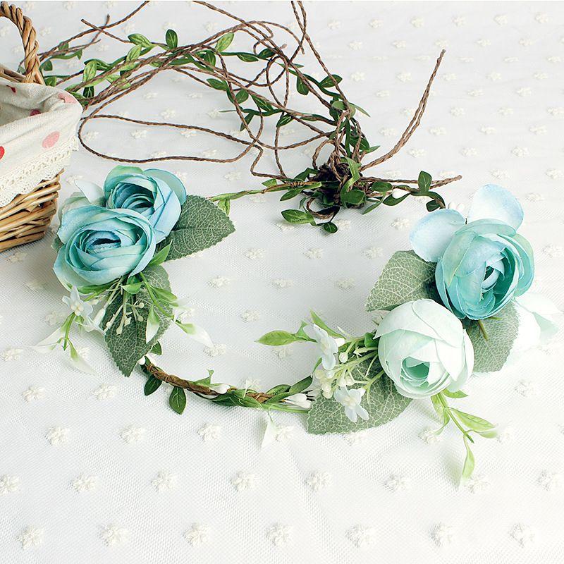 Rosa Çiçek Çelenk Düğün Gelin Yapay Çiçek Baş Tiara Taç Saç Çiçek bandı Kadın Saç Aksesuarları Için