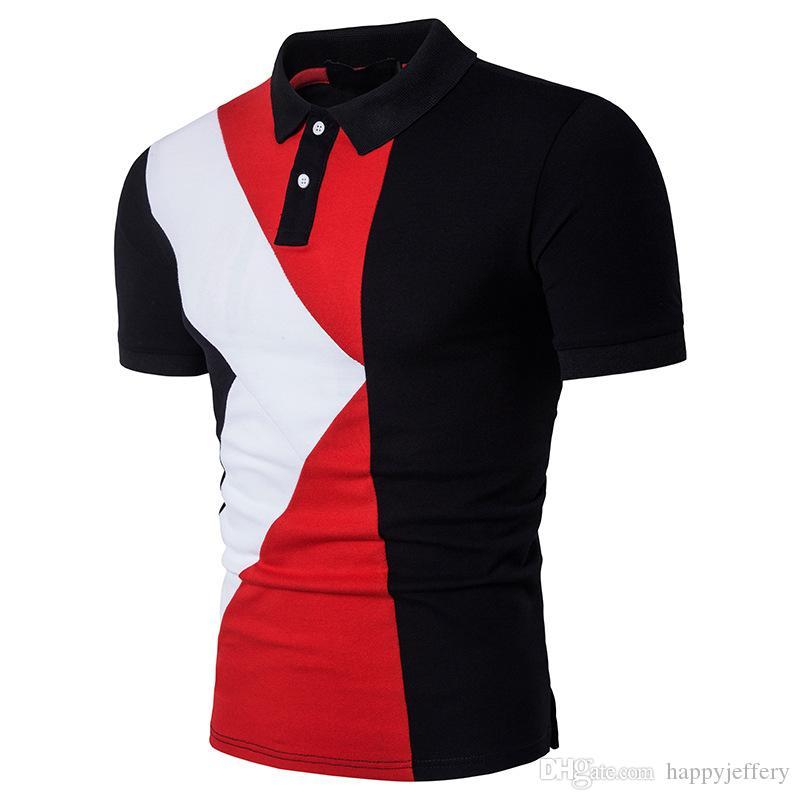 2019 New Mens Short Sleeve Polo Shirt Combination Colour Plus Size B65 From  Happyjeffery b223908e3e4dd