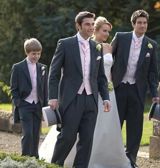 8e1bc6066c Custom Tailor Morning Style Groom Tuxedos One Button Peak Lapel Charcoal  Back Vent Best Man Groomsmen Wedding Suits Jacket+Pants+Vest Wedding Suit  For Men ...