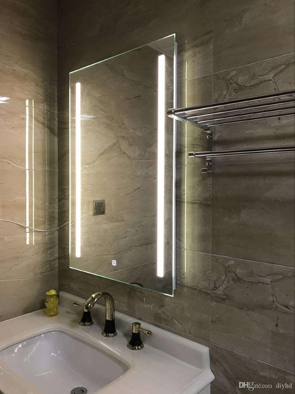 Diyhd Wall Mount Led Backlit Lighted Bathroom Mirror Vanity Defogger 2  Vertical Lights Rectangular Touch Light Mirror Framed Bathroom Mirrors  Framed Large ...