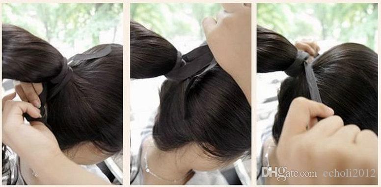 ] 100% naturel Remy brésilien cury cordon de cheveux ondulé queue de cheval pinces à queue de cheval prêles dans / sur les cheveux humains Extension de vague de corps cheveux