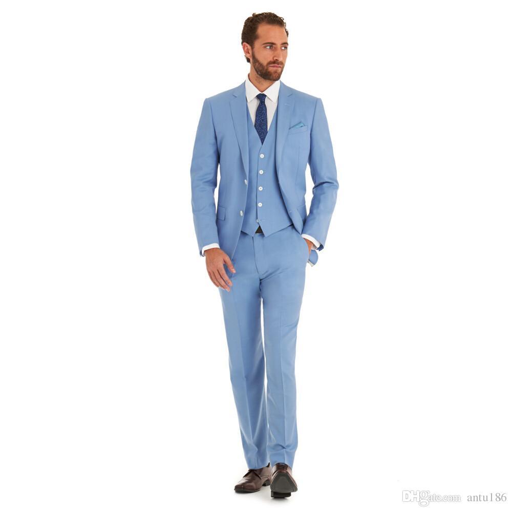 Yeni Varış Romantik Açık mavi adam suit Düğün takım elbise Smokin erkekler suit son tasarımlar balo takımları Ceket + Pantolon + Yelek