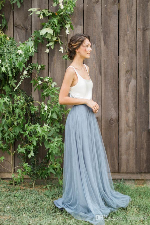 Vintage Two Tone Navy Bridesmaid Dresses Country Beach Wedding Maid of Honor Floor Length Sleeveless Long Formal Gowns