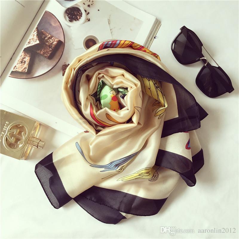 العلامة التجارية الطيور الحرير وشاح أزياء المرأة لينة الفولار الطاووس التركية الطبيعية حك الحرير شالات والأوشحة الإناث الملحقات 2017