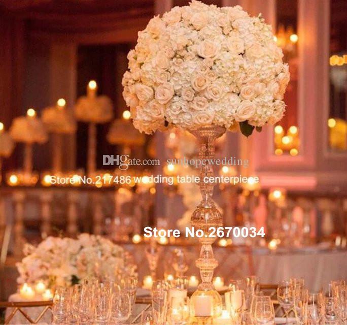Yeni tasarım akrilik akrilik çiçek ile düğün centerpieces kristal şamdan çiçek standı