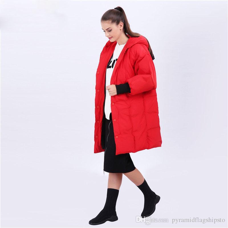 Parkas de mujer Otoño Invierno Nuevo patrón Warm Parkas Keep Warm Chaqueta con capucha Long Red Cut Ears Chaqueta de abrigo largo Mujeres Chaqueta Parkas