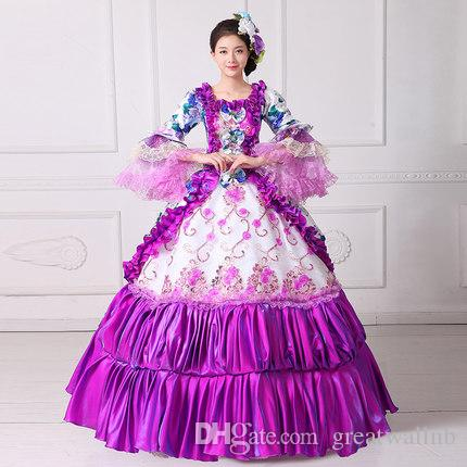 100%real Purple Ruffled Gown Medieval Renaissance Ball Gown Sissi ...