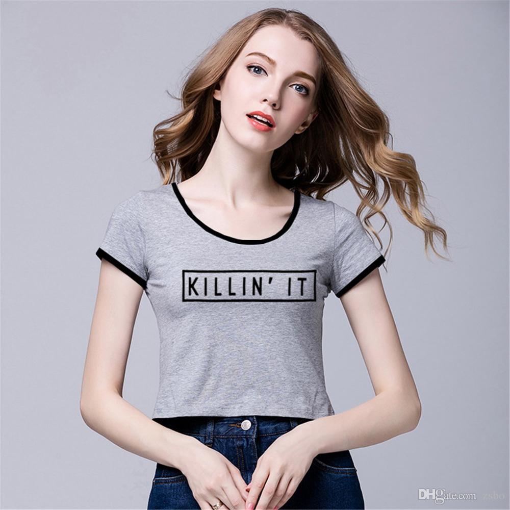 Camisetas para la marca de ropa de marca de moda para mujeres KILL IN IT kawaii top tees camisetas mujeres tops lindos tees mini camiseta NV11 RF